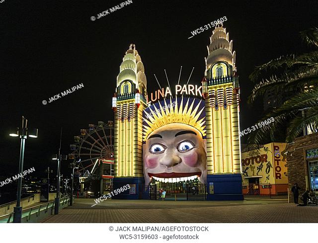 luna park amusement park entrance in sydney australia at night