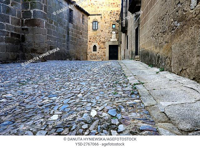 cobbled sstreet, Old Town of Caceres, UNESCO World Heritage Site, Extremadura, Spain, Europe