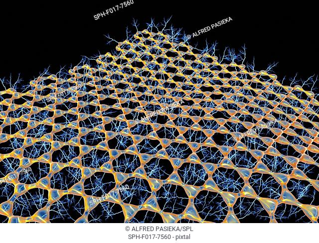 Graphene sheet. Illustration of the atomic-scale molecular structure of graphene, a single hexagonal layer of graphite. It is composed of hexagonally arranged...