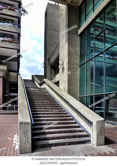 Concrete stairs at The Barbican Centre, which is a performing arts centre in the City of London and the largest of its kind in Europe
