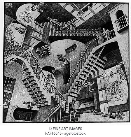 Relativity. Escher, Maurits Cornelis (1898-1972). Lithograph. Modern. 1953. © Escher in het Paleis, Den Haag. 27,7x29,2. Graphic arts