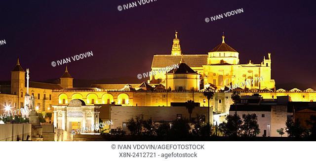 Cathedral (Mezquita) and Roman bridge at night, Cordoba, Andalusia, Spain