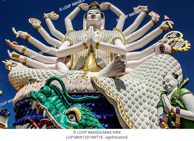 Statue of Guanyin who is the Goddess of Mercy at Wat Plai Laem in Koh Samui