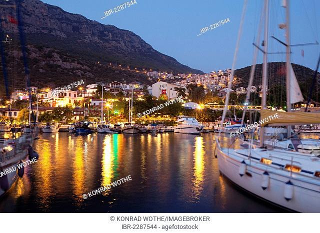 Kas harbour at night, Lycian coast, Lycia, Mediterranean, Turkey, Asia Minor