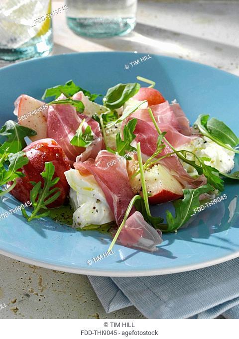 Summer salad burrito fresh peach and prosciutto ham