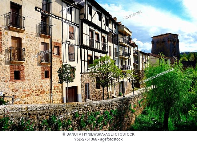 old town of Covarrubias, in background - Torreón - tower of Fernán González of Castile, promenade along Arlanza river, Covarrubias, Ruta del Cid