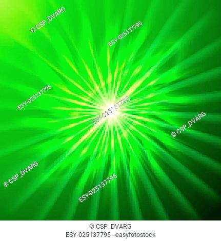 Bright space star in green