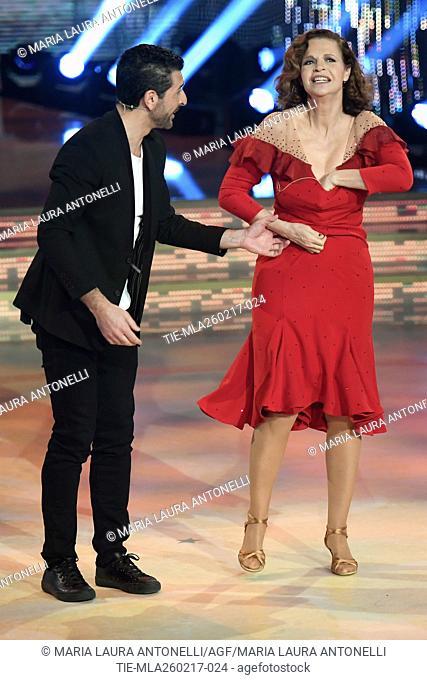 Simone Di Pasquale with Anna Galiena during the tv show Ballando con le stelle, Rome, ITALY-25-02-2017