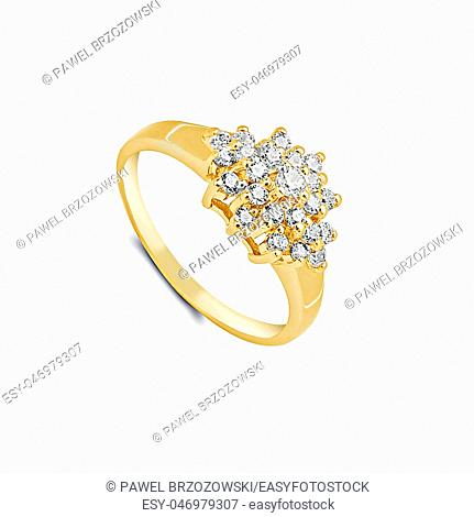 Gold ring with white sapphires isolated on white background
