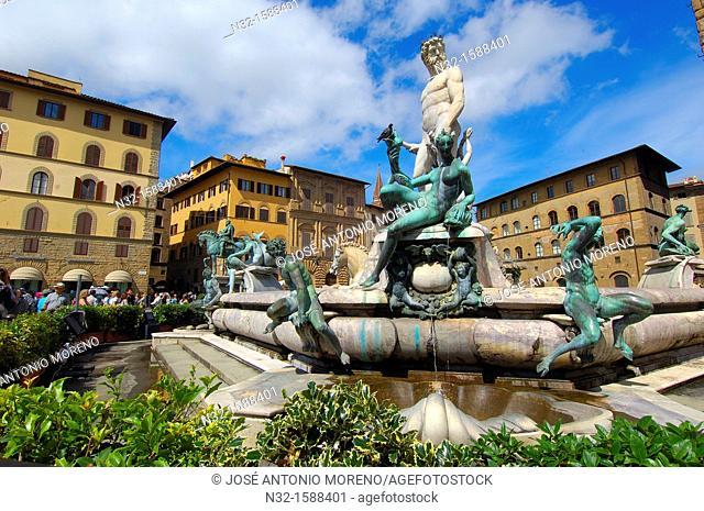 Florence, Neptune Fountain, La Signoria square, Piazza della Signoria, Tuscany, Italy