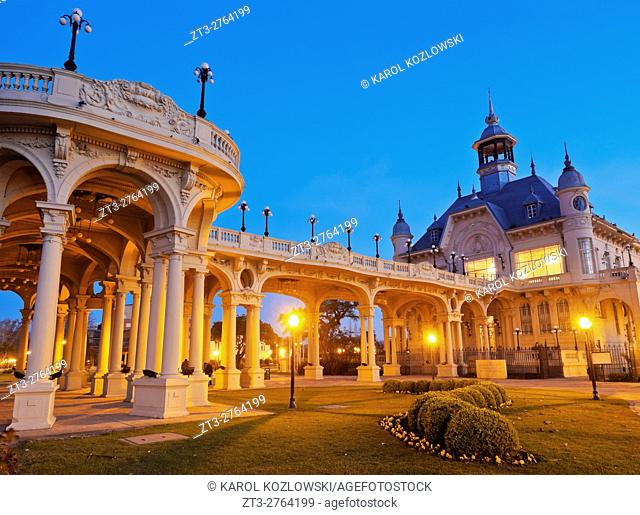 Argentina, Buenos Aires Province, Tigre, Twilight view of the Municipal Museum of Fine Art