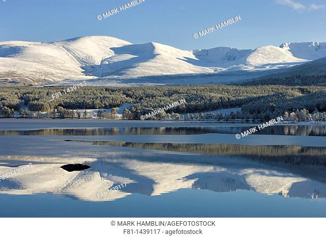 Loch Morlich and Cairngorm Mountains in winter, Cairngorms National Park, Scotland, January 2007