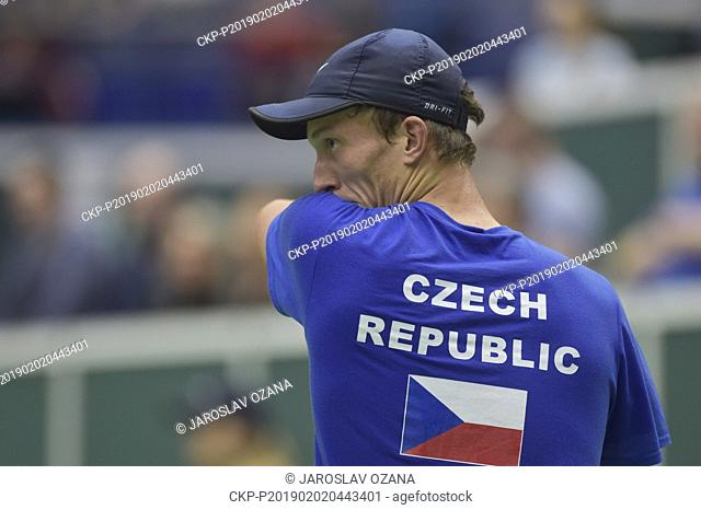 Jiri Lehecka of Czech Republic returns the ball to Robin Haase of Netherlands during the match of the Davis Cup qualifying round Czech Republic vs Netherlands...