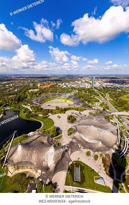 Germany, Munich, Olympic Park with stadium seen from above