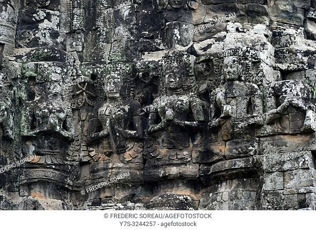 Bas relief carvings at Angkor Thom Terrace of Elephants in Siem Reap, Cambodia, South east Asia