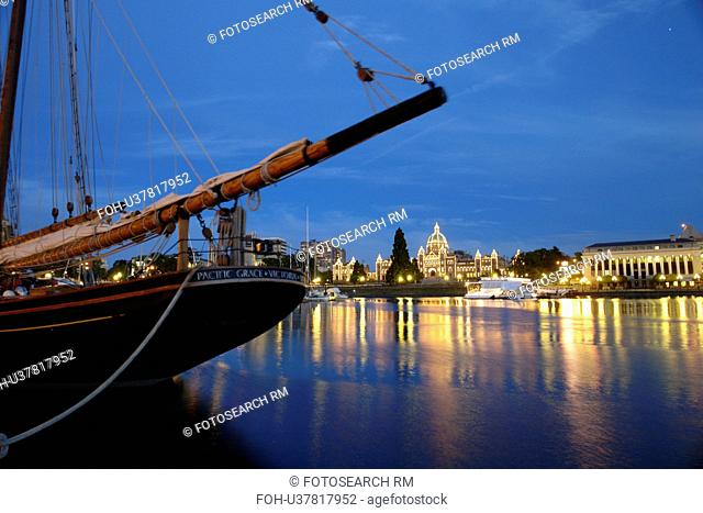 Victoria, British Columbia, Canada, Vancouver Island, Inner Harbour, waterfront, tall ship, Pacific Grace, evening