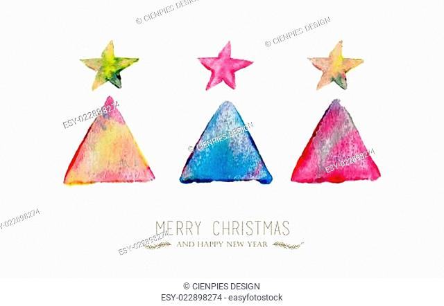 Merry Christmas pine tree watercolor greeting card
