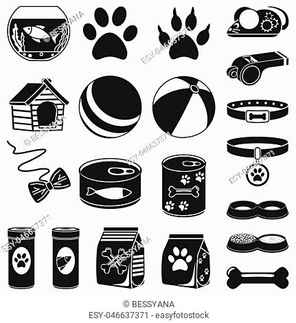 20 black and white pet shop silhouette elements. Domestic animals care vector illustration for icon, sticker, patch, label, badge
