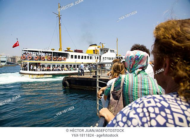 Tourists waiting for the ship