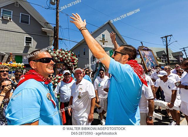 USA, Massachusetts, Cape Ann, Gloucester, St. Peter's Fiesta, Italian-Portuguese fishing community festival, religious procession, chanting to St