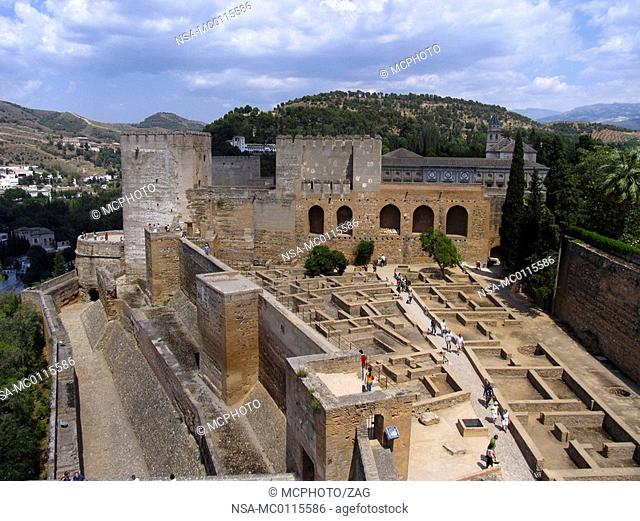 View at the Alcazaba, Alhambra, Granada, Andalucia, Spain