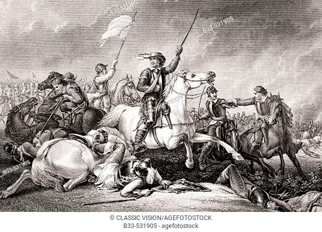 Cromwell at the Battle of Marston Moor. Leading a charge after being wounded in his right arm. Engraved by J.J. Crew after Abraham Cooper