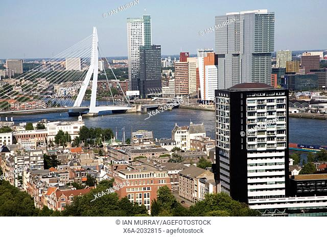 Views looking over the city centre from the 185 metre tall Euromast tower, Rotterdam, Netherlands towards River Maas and Erasmus Bridge