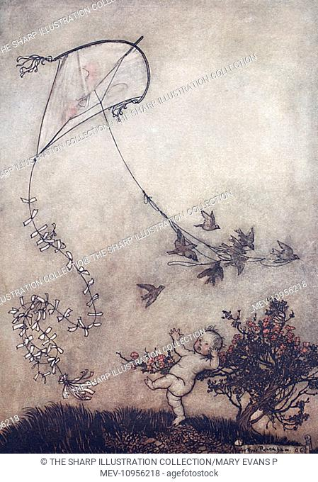 Illustration, Peter Pan in Kensington Gardens, by Arthur Rackham -- Peter screamed out Do it again! and with great good-nature they did it several times