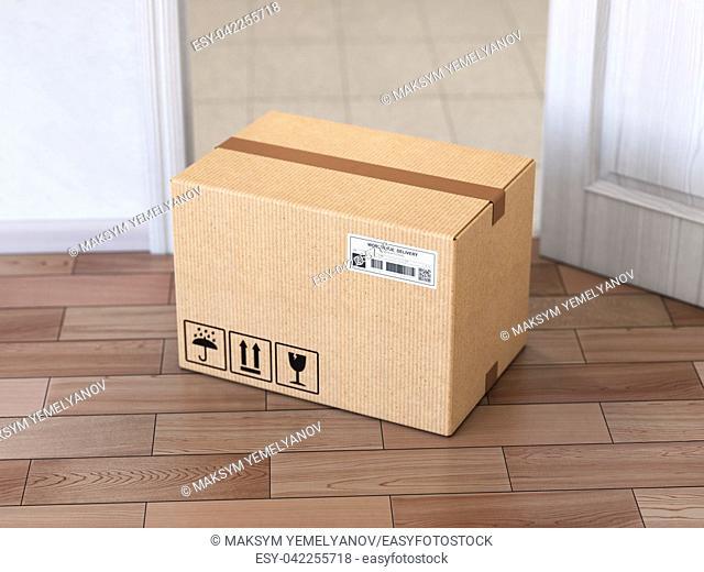 Delivery service concept. . Cardboard box front of entrance open door. 3d illustration