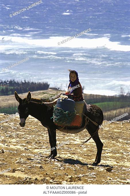 Morocco, girl on donkey overlooking sea