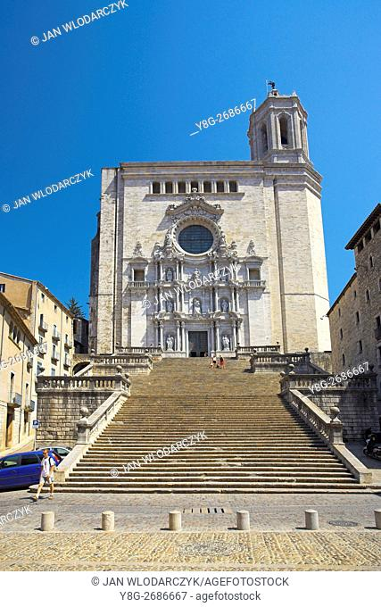 Cathedral in historic centre, Girona, Catalionia, Spain