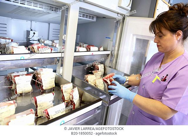Blood Bags Refrigerator, Blood Bank Emergency Department, Hemotherapy, Donostia Hospital, San Sebastian, Donostia, Gipuzkoa, Basque Country, Spain