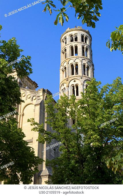 Romanesque Fenestrelle tower of Saint-Theodorit Cathedral in Uzes town. Gard department. Languedoc-Roussillon region, France
