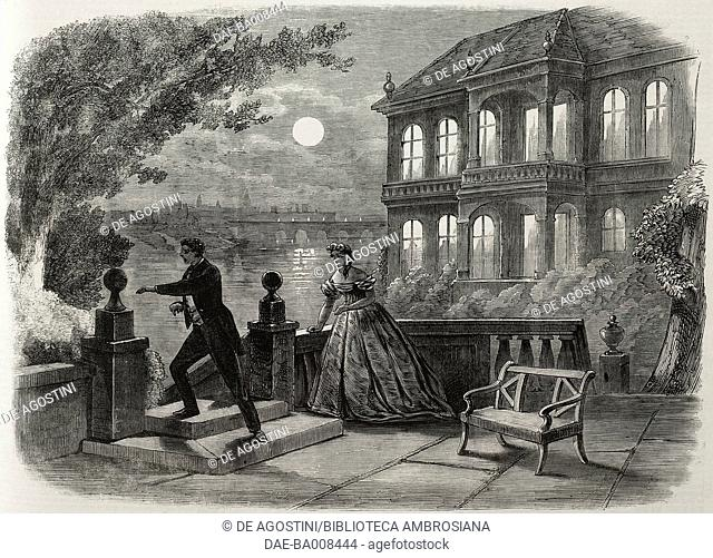 Man and woman on a terrace by the river, Scene from the comedy Settling Day by Tom Taylor, illustration from the magazine The Illustrated London News