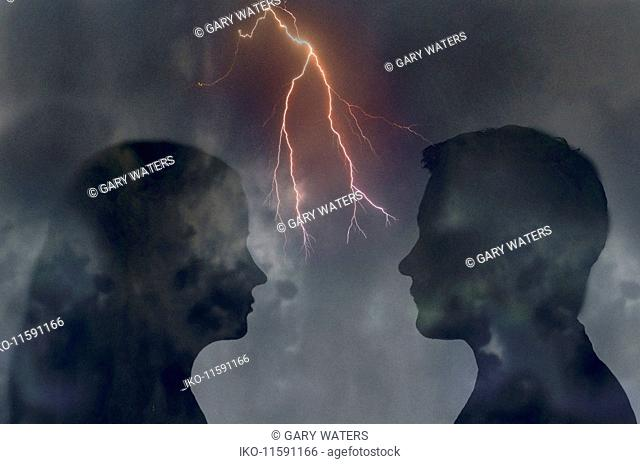 Forked lightning between couple looking at each other face to face