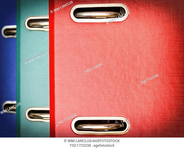 Colorful ring binders closeup with vignette