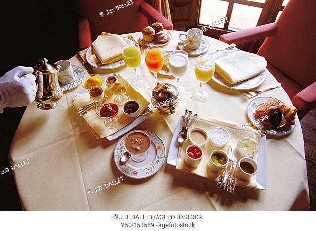 Chef Ferran Adria's breakfast at Hacienda Benazuza luxury hotel. Sanlúcar la Mayor, Sevilla province, Andalucia, Spain