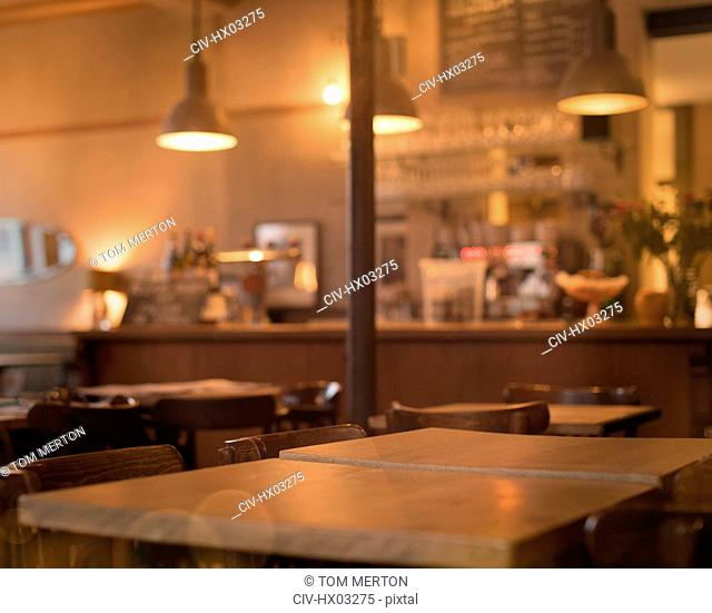 Tables in empty cafe