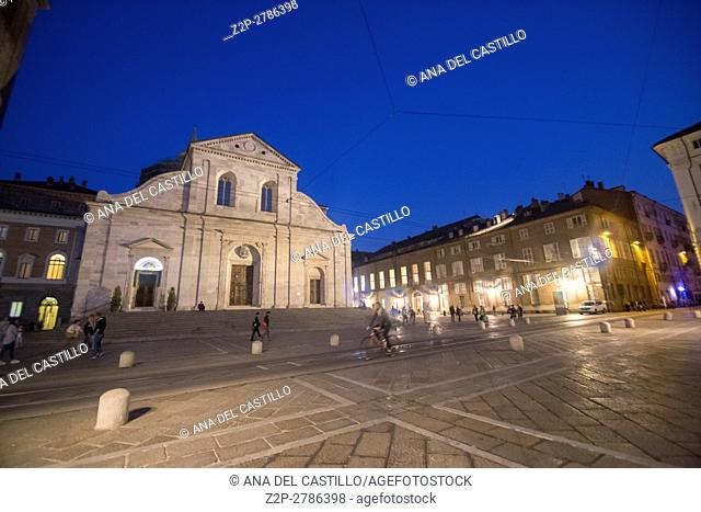 Turin in Piedmont in Italy. The cathedral square by night