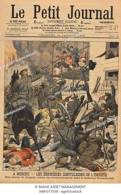 Russian Revolution 1905-1906, The last of the riots in Moscow: Soldiers firing on rioters who had taken refuge in the Prokhorof factory, Presnenskaia District