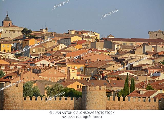 Partial view of the fortified city of Avila with the Cathedral of Christ the Saviour standing out. Castilla-Leon, Spain, Europe
