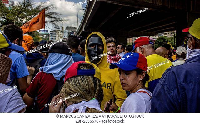 CARACAS, VENEZUELA - APRIL 6: Venezuelan opposition activists clashes wiht Police in Caracas on April 6, 2017. The center-right opposition vowed fresh street...