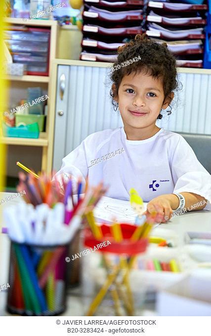 Girl in the classroom of studies and games, Plant for hospitalization of children, Pediatrics, Medical care, Hospital Donostia, San Sebastian, Gipuzkoa