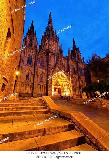 Night view of The Cathedral of the Holy Cross and Saint Eulalia in Barcelona, Catalonia, Spain