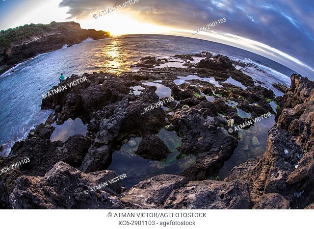 Sunset at Jover beach in Tenerife island