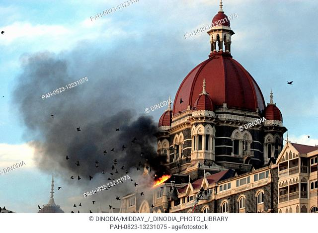 Taj Mahal Hotel burning after it was attacked by Deccan Mujahideen terrorists in South Mumbai India on 27/11/2008. Terrorists killed 100 people and wounded more...