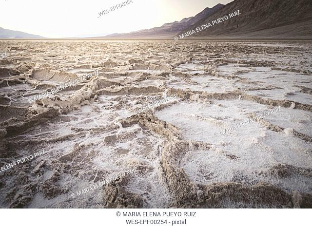 USA, California, Death Valley, Badwater Basin at sunset