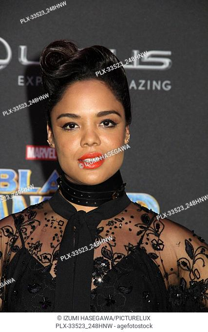 "Tessa Thompson 01/29/2018 The World Premiere of """"Black Panther"""" held at The Dolby Theatre in Los Angeles, CA Photo by Izumi Hasegawa / HNW / PictureLux"