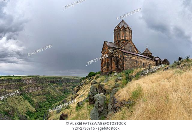 Surp Karapet church on the brink of a gorge carved by Kasagh river. Hovannavank monastery in Armenia
