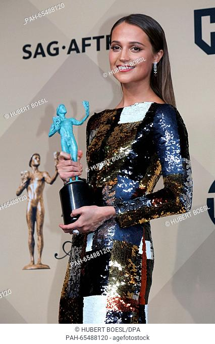 Actress Alicia Vikander poses in the press room of the 22nd Annual Screen Actors Guild Awards, SAG Awards, at The Shrine Auditorium in Los Angeles, USA